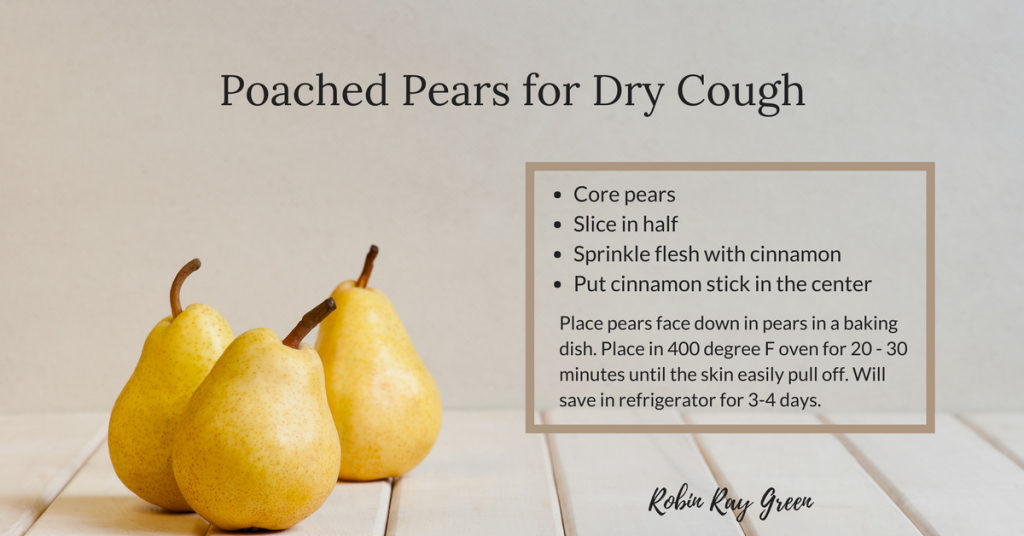 poached pears to stop child's dry cough