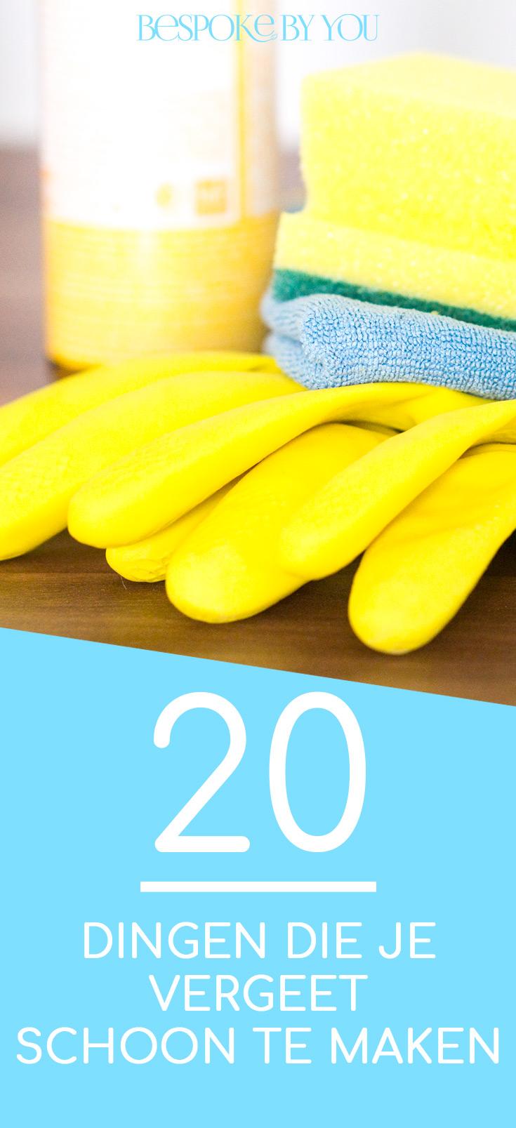 Met deze handige lijst zijn er nooit meer dingen die je vergeet schoon te maken in huis. Gebruik het veilige en effectieve natuurlijke schoonmaakpakket van Bespoke By You voor al je schoonmaakwerk.