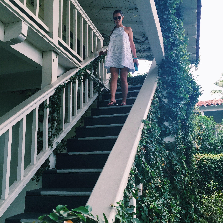 White Assali Dress, Palm Springs, Alexandra Harbushka