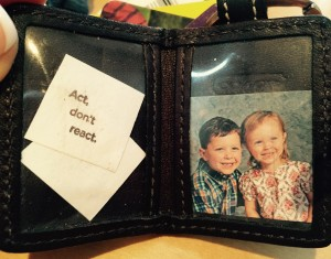Jessie's photo holder keychain, in use since 2008. What mother would dress her pre-schoolers in such clashing attire on picture day?