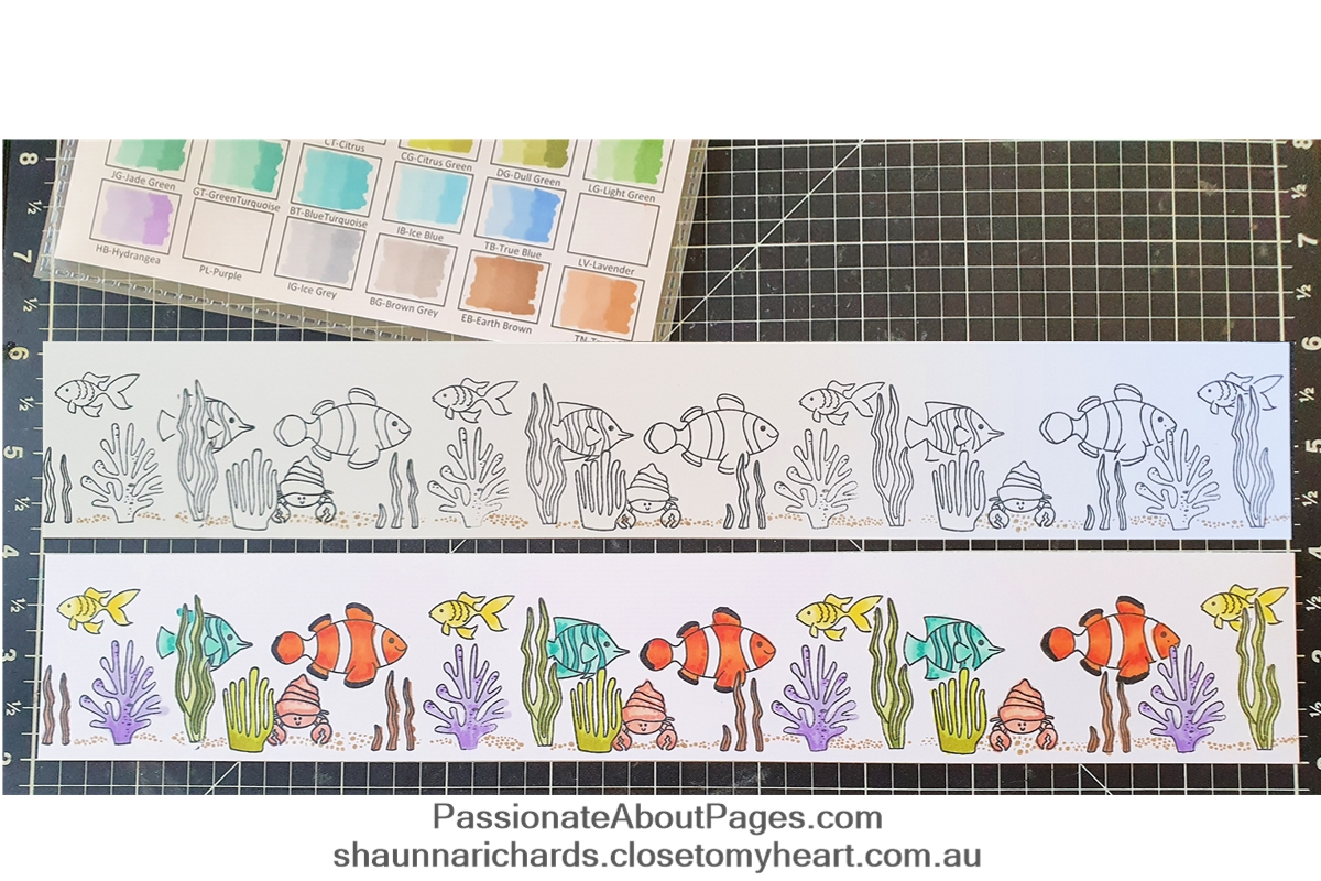 Create your own ocean scene with O-fish-ally Awesome (S2004) – April 2020's Stamp of the Month from Close To My Heart.  Perfect for scrapbookers and card makers. Order yours from https://shaunnarichards.closetomyheart.com.au/  during April 2020