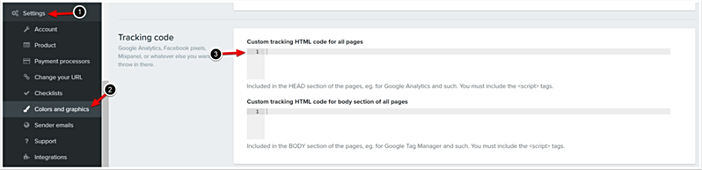 Custom tracking HTML code for all pages