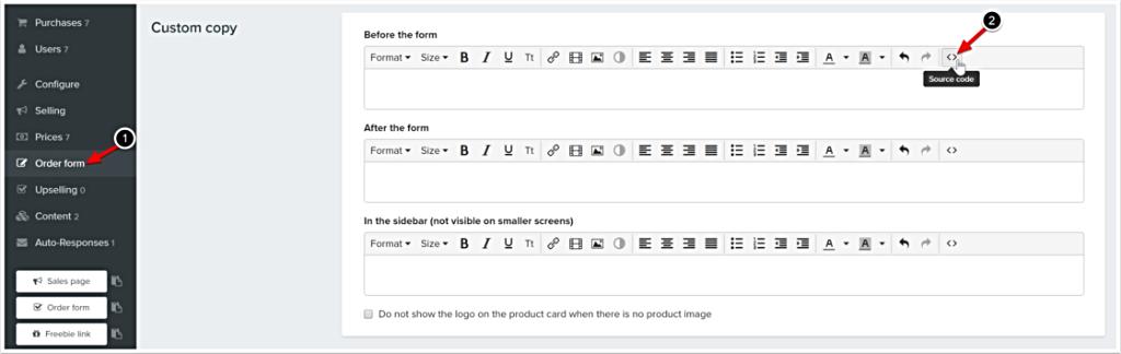 Custom tracking HTML code for Custom Copy