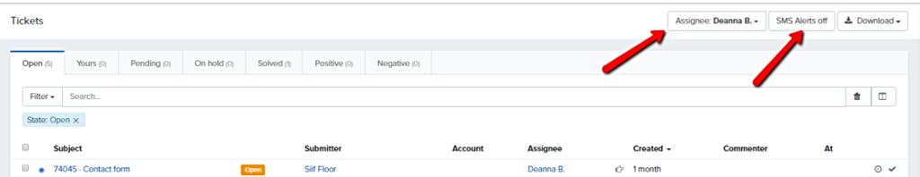 Assignee_N_SMS_alert_buttons