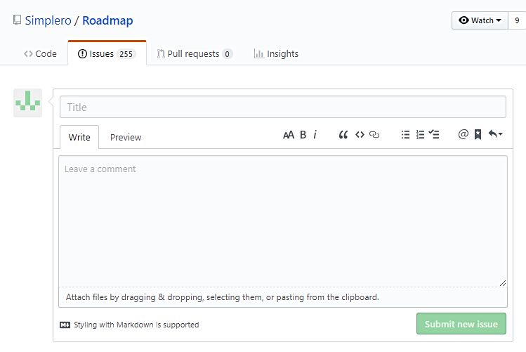 Github_Submit_new_issue