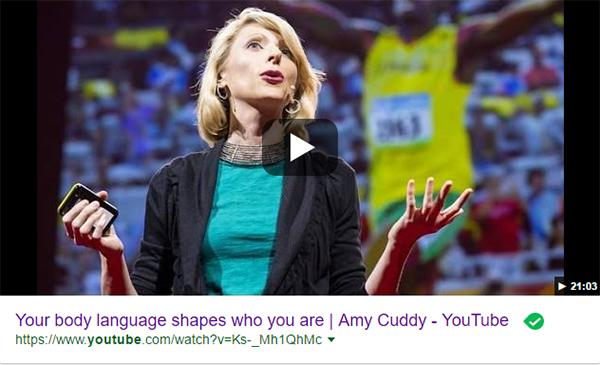 Amy Cuddy - TED talk om kropssprog