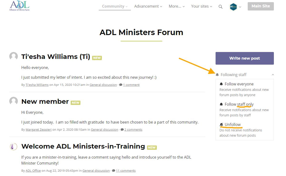 ADL forum notifications