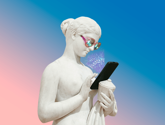 statue wearing sunglasses looking at phone