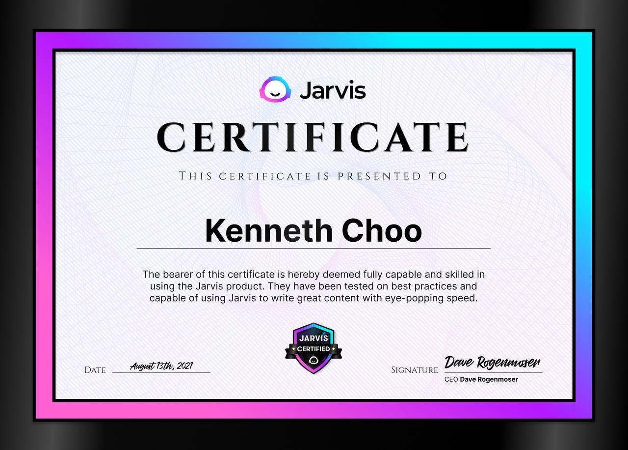 Jarvis Certified | Kenneth Choo