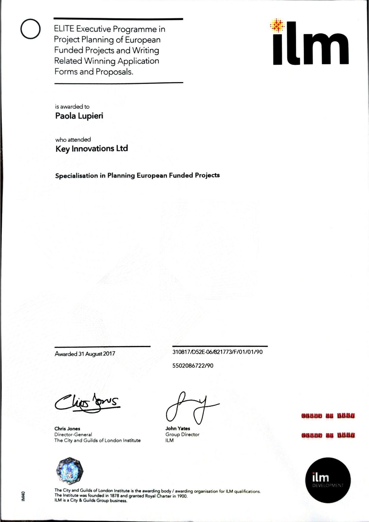 ILM certificate template