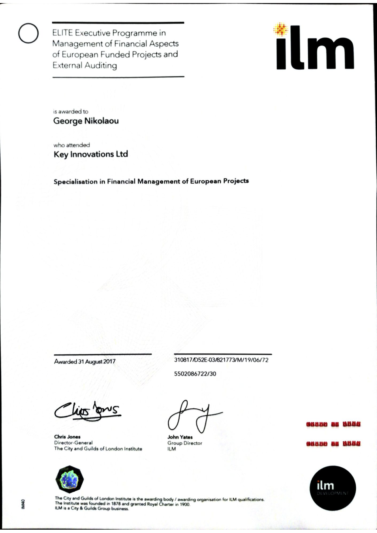ILM specialisation certificate template
