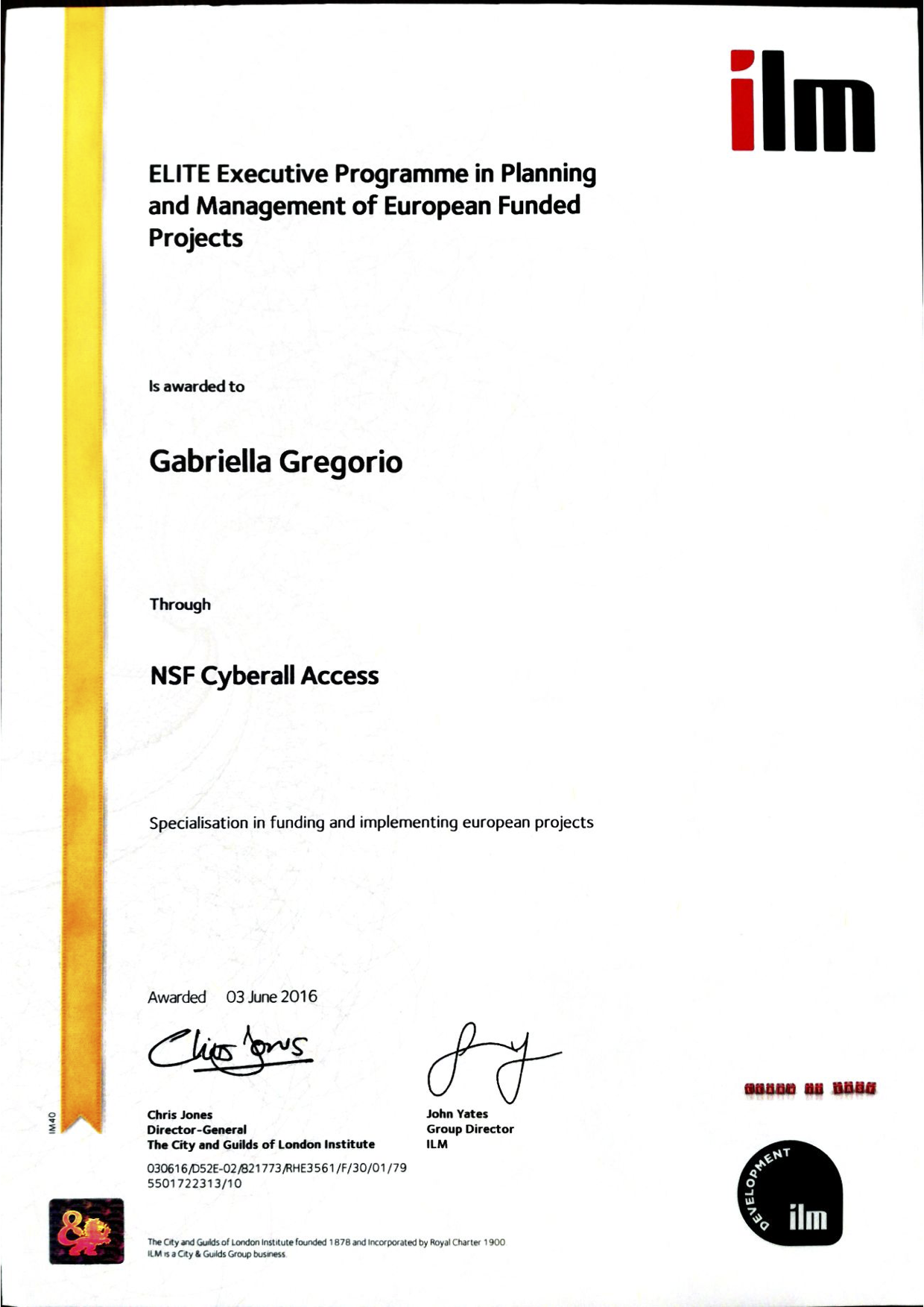 ILM specialisation certificate Planning and Management of EU projects