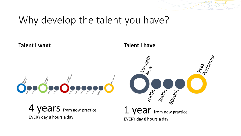 By developing the talent we already have, we can significantly reduce the time it takes us to become great at something.